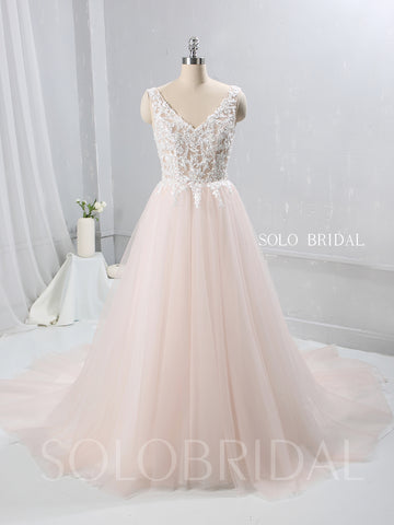 Blush Pink A Line Tulle Wedding Dress with V Neckline