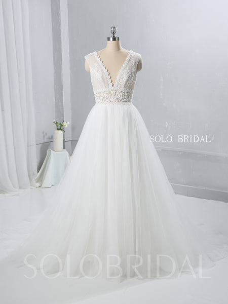 Ivory A Line Tulle Wedding Dress with See Through Lace Bodice