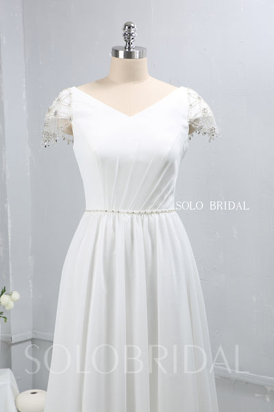 Ivory Chiffon Small A Line Wedding Dress