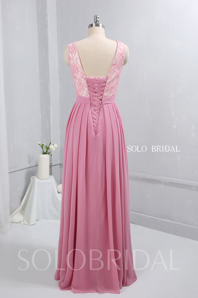 Pink Pleated Chiffon Bridesmaid Dress