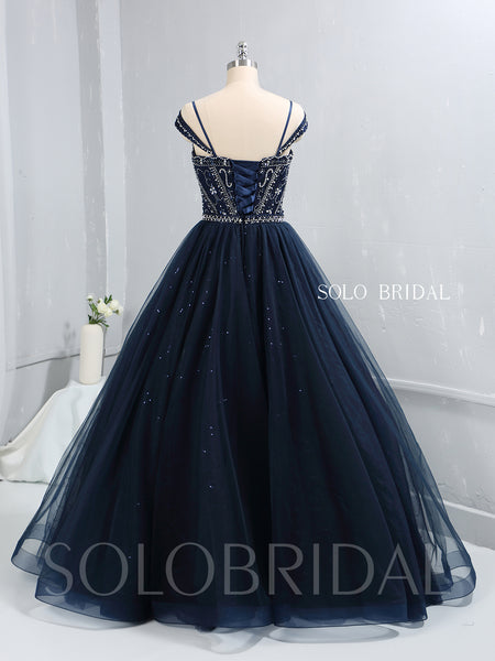 Royal Blue Heavy Beaded Shiny Tulle Prom Dress with Long Skirt