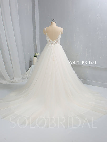 Light Champagne A Line Tulle Wedding Dress with Cathedral Train