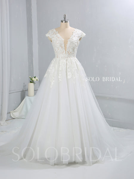 Light Ivory Capped Sleeve A Line Tulle Wedding Dress with Court Train