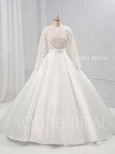 Ivory A Line Satin Wedding Dress with Lace Long Sleeves