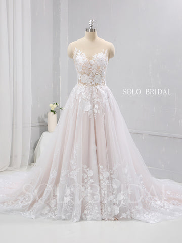 Blush A Line French Lace Wedding Dress