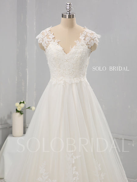 Ivory Cotton Lace A Line Wedding Dress with Capped Sleeves