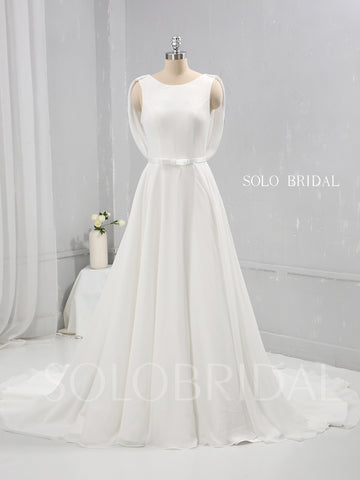 Ivory Chiffon A Line Wedding Dress with Lace and Cowl Back