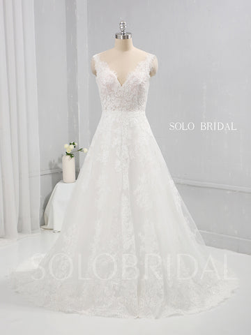 Thin Lace Applique A Line Wedding Dress