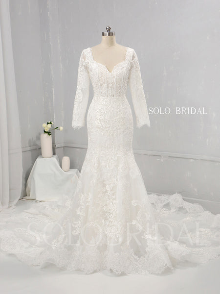 Ivory Fit and Flare Wedding Dress with Diamond Neckline and Cathedral Train