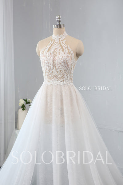 A Line See Through Halter Neck Wedding Dress with Split Opening