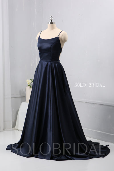 Dark Blue A Line plain Satin Dress Bridesmaid Dress