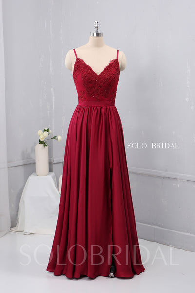 V Neck Thin Straps Wine Red Silk Like Chiffon Bridesmaid Dress