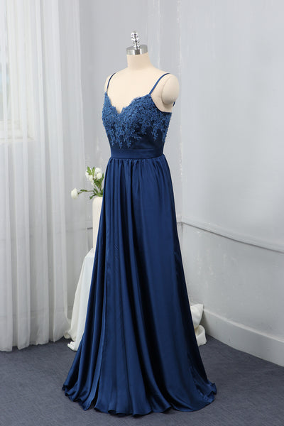 Royal Blue Spaghetti straps Bridesmaid Dress Silk Chiffon
