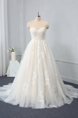 Champagne A Line Sweetheart Sweep Train Wedding Dress