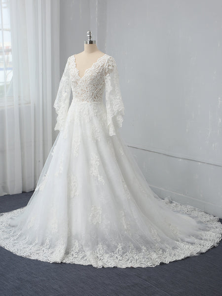 Ivory A Line V Neck Long Mandarin Sleeve Wedding Dress