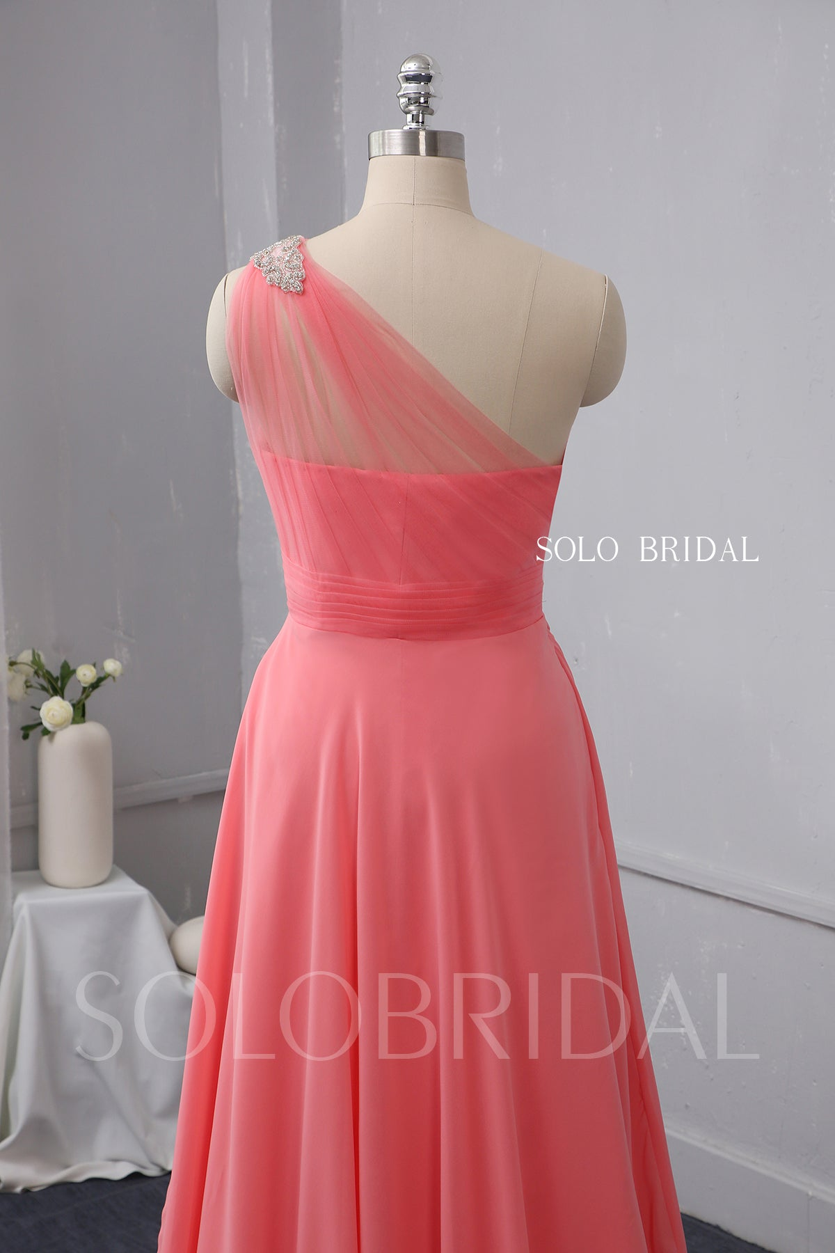 Watermelon Red Chiffon Bridesmaid Dress