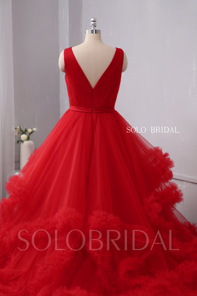Red V Neck Ruffles Ball Gown Wedding Dress
