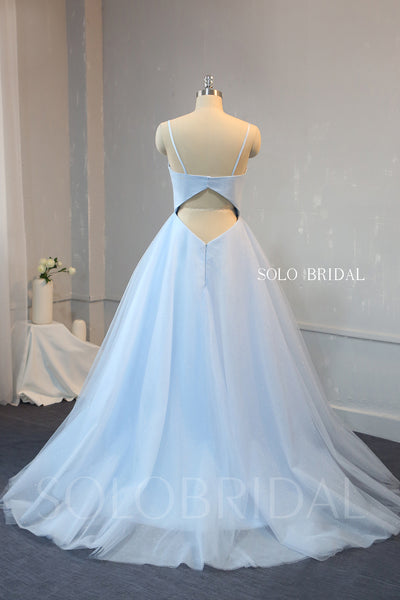 A Line Baby Blue Satin and Shiny Tulle Prom Dress