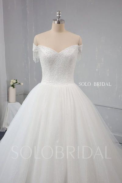 Ball gown A Line Sparkling Heavily Beaded Wedding Dress