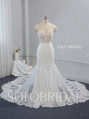 See Through Skin Coloured Bodice Ivory Mermaid Wedding Dress with Catherdral Double Layer Lace Train