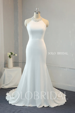Ivory Crepe Fit and Flare Wedding Dress with Beaded Halter Neck