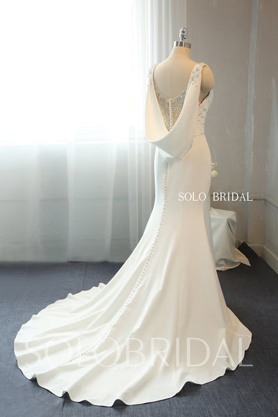 Ivory Crepe Fit and Flare Wedding Dress with Fully Beaded Back