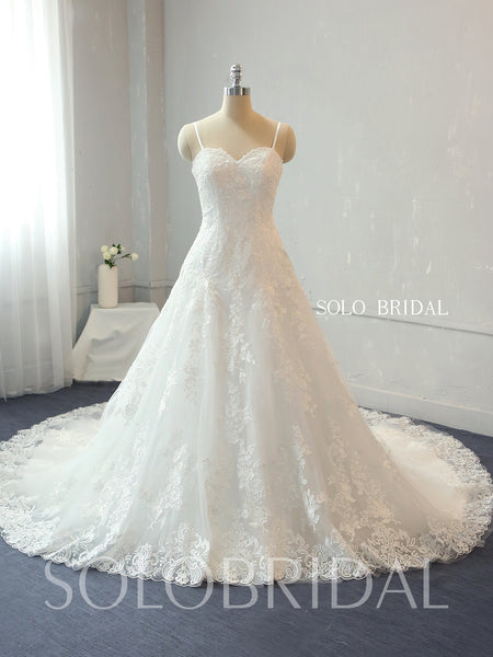 Ivory A Line Cotton Applique Lace Wedding Dress