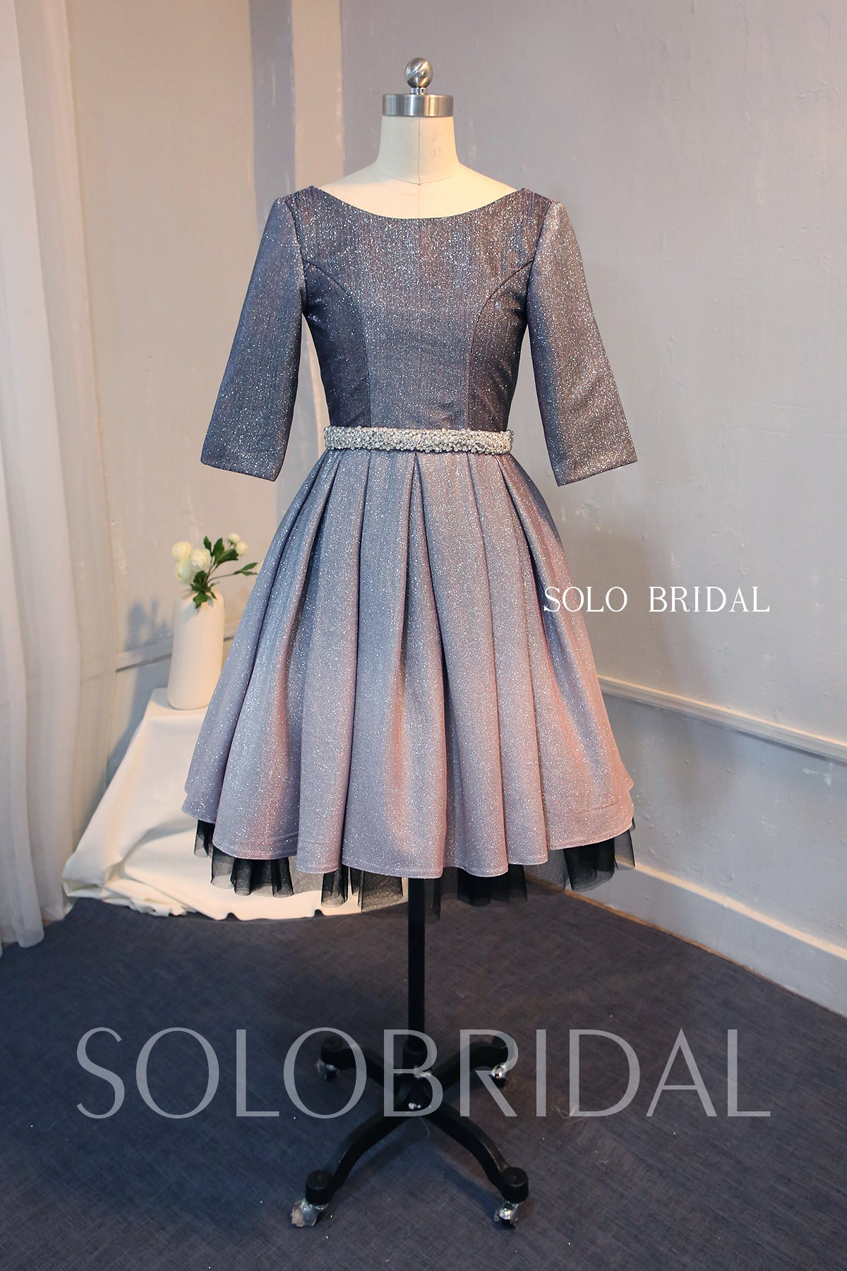 Grey Shiny Mother of the Bride Dress