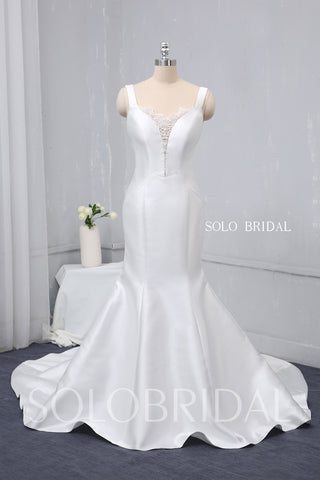 White Satin Mermaid Wedding Dress with Beaded Lace Back