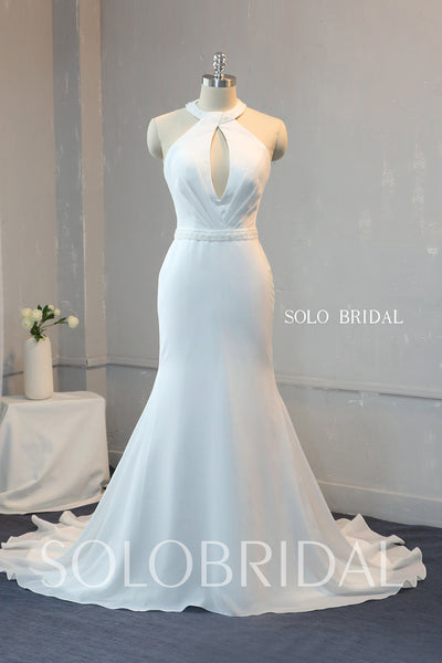 Ivory Crystal Beaded Halter Fit and Flare Chiffon Wedding Dress