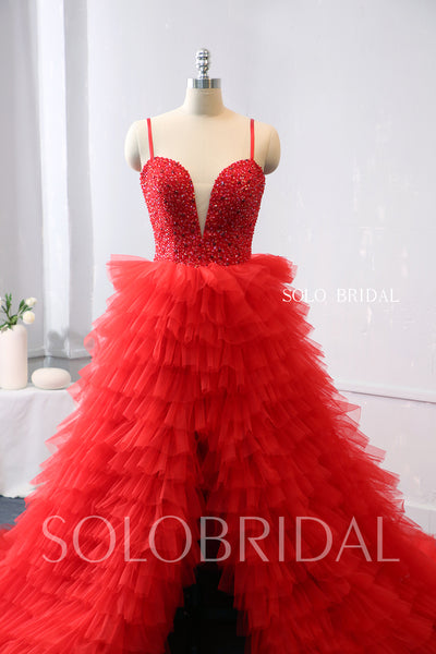 Red Tulle Ruffle Skirt Prom dress with Open Front