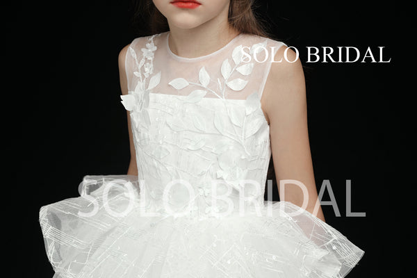 Ivory Tutu Skirt Leaf Lace Flower Girl Dress