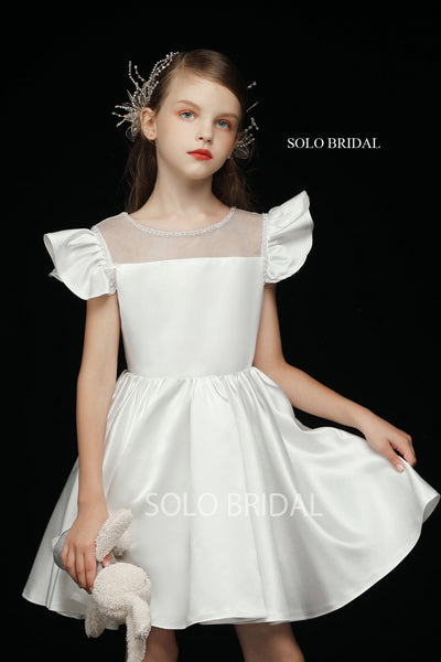 Ivory Satin Princess Flower Girl Dress