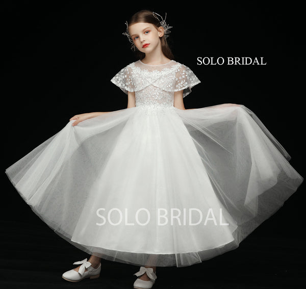 Ivory Wrap Sleeve Tulle Skirt Flower Girl Dress
