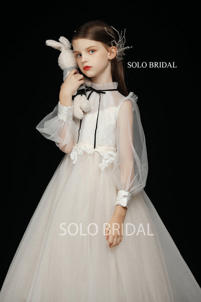 Ivory Long Sleeve A Line Pleated Tulle Flower Girl Dress