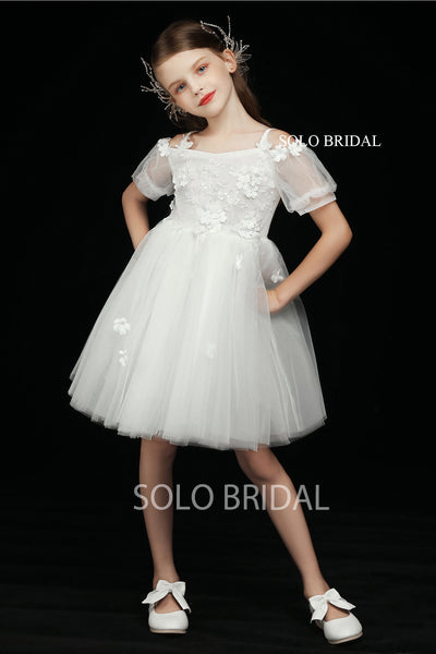 Ivory Flower Girl Dress with Short Sleeves