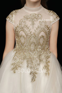 Champagne Tulle Front Low Back Flower Girl Dress with Gold Lace