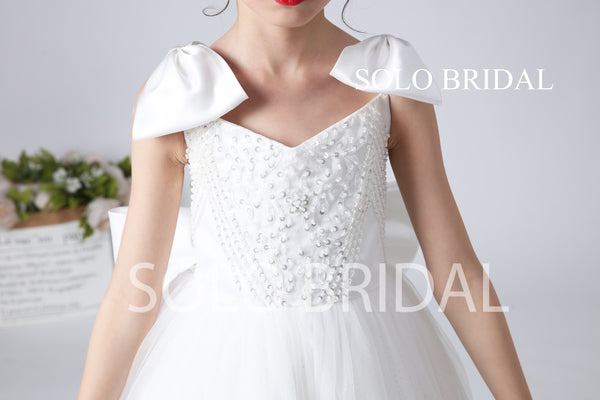 White Beaded Lace Flower Girl Dress with Bow and Sweep Train