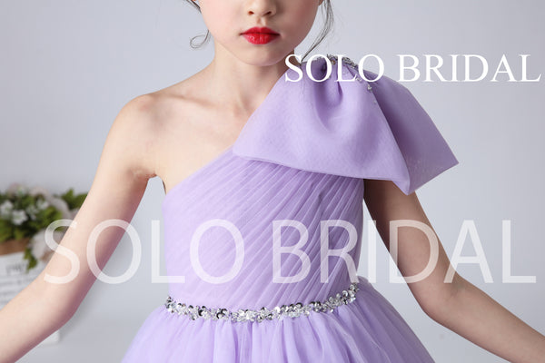 Purple Tulle One Shoulder Flower Girl Dress with Bow and Sweep Train
