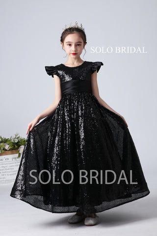 Black Sequin Flower Girl Dress