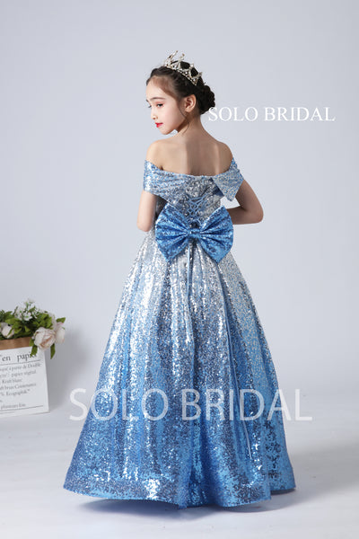 Sky Blue Sequin Flower Girl Dress