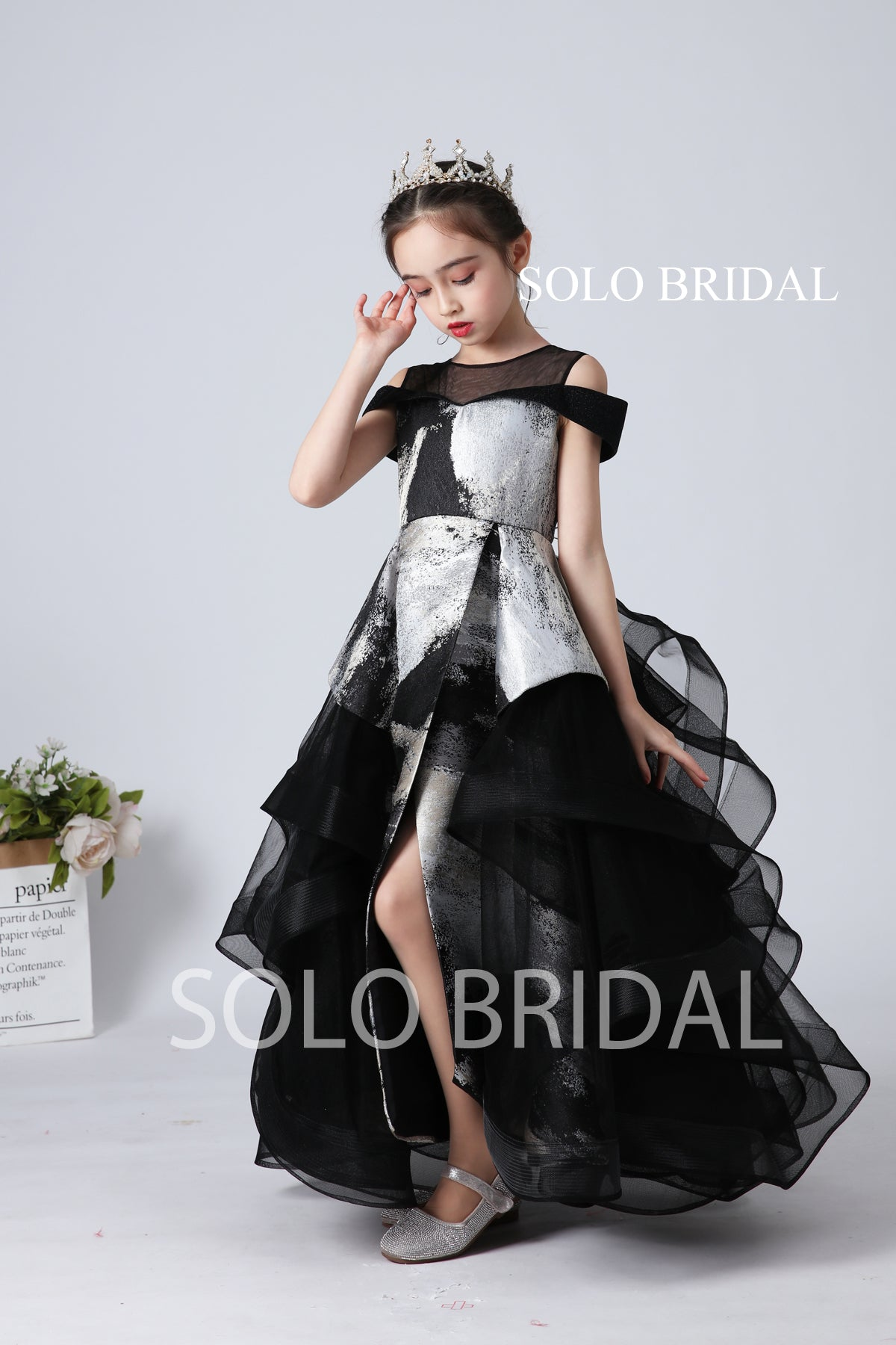 Black and Silver Flower Girl Dress