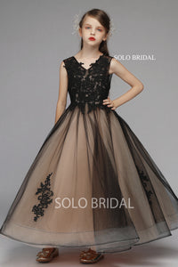 Black and Brown Tulle Flower Girl Dress