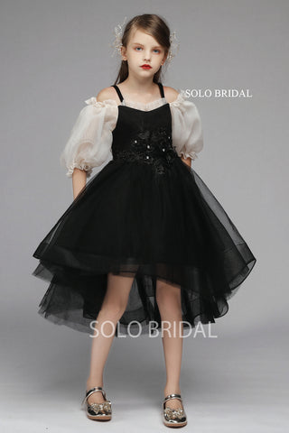 Black Ball Gown Flower Girl Dress