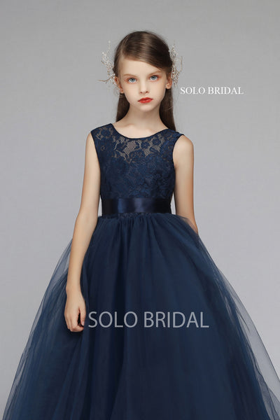 Blue Lace and Tulle Flower Girl Dress