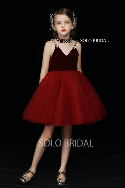 Red Tulle Short Skirt Flower Girl Dress