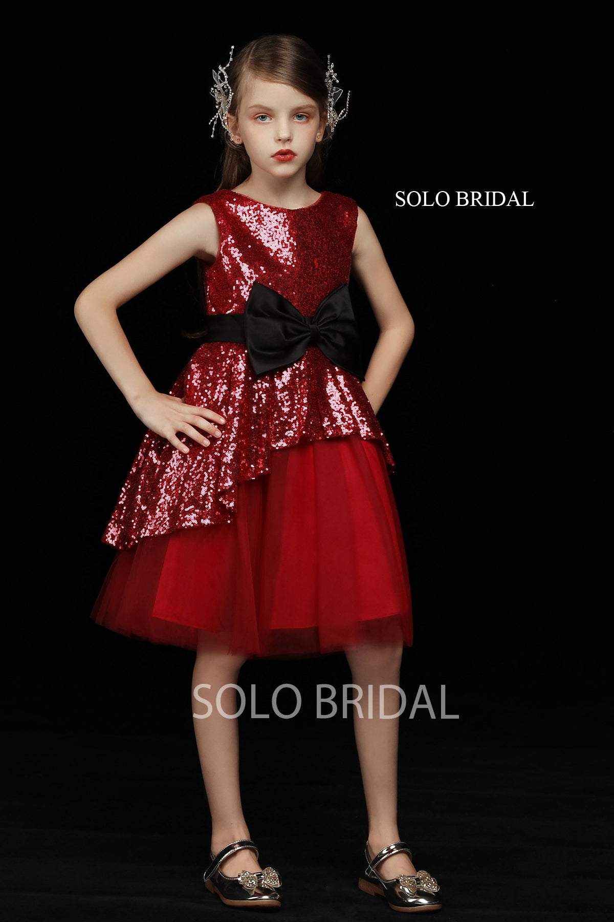 Red Sequin and Tulle Flower Girl Dress