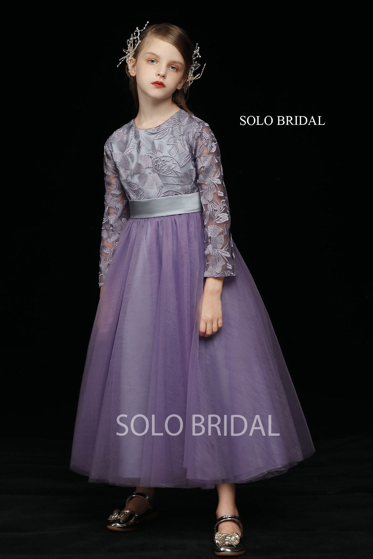 Purple Lace and Tulle Flower Girl Dress