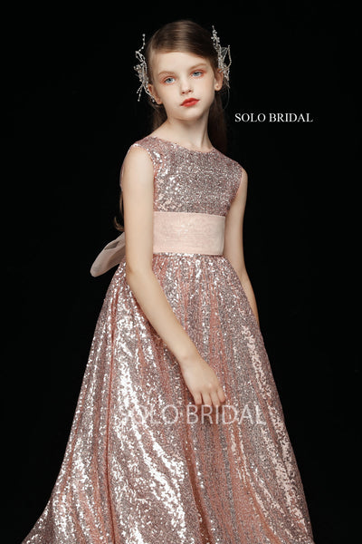 Pink Sequin Ankle Length Flower Girl Dress