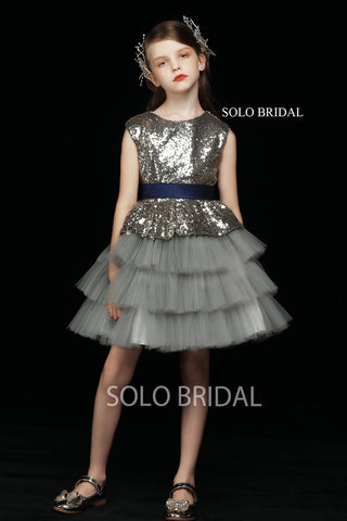 Grey Sequin and Tulle Flower Girl Dress